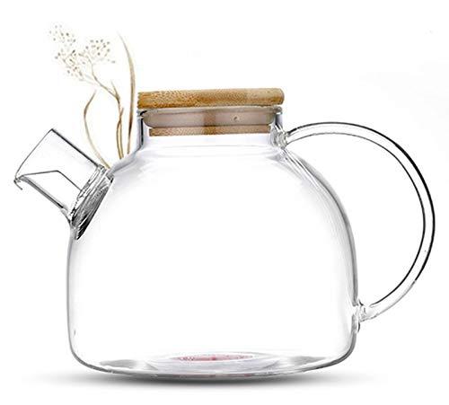 TEA & TEA 800ml Teekanne mit Bambusdeckel und kurzem Auslauf, hochwertiger Teekrug aus Borosilikatglas mit Logo am Glasboden von Feelino