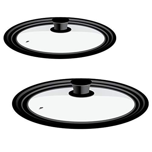 bremermann - Set di 2 coperchi universali in vetro con bordo in silicone (Ø 29 cm & Ø 35,5 cm)