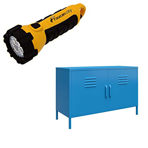 Toucan City LED Flashlight and Novogratz Cache Blue 2-Door Metal Locker Accent Cabinet 4012810COM