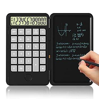 Calculator Basic Office Calculators with Erasable Writing Board Large Display Desktop Calculators Rechargeable Desk Calculator Multi-Function Calculator Notepad for Office School Calculating-Black