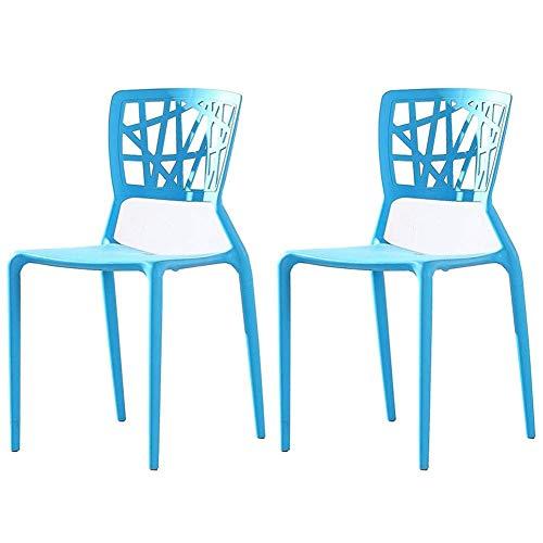 Juego de sillas de Comedor de 2 sillas de Mesa de Respaldo apilables de Estilo nórdico Silla de café de Ocio de plástico Silla de recepción (Color: Azul)