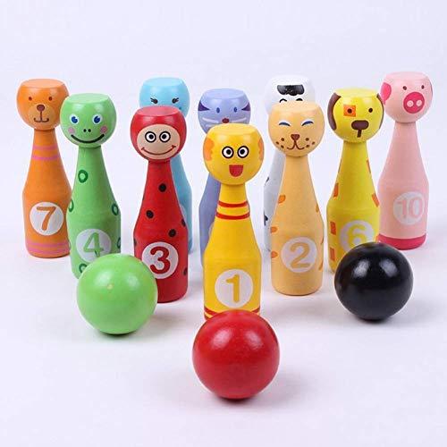 ausuky Bowling-Set aus Holz, regenbogenfarben, digital, für Kinder, Puzzle, Eltern-Kind, interaktives Spielzeug (Tiere)
