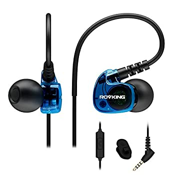 ROVKING Sport Headphones Wired Sweatproof Over Ear Earbuds for Running Gym Workout Exercise Jogging Stereo in Ear Earphones with Mic Noise Isolating Earhook Ear Buds for Cell Phone MP3 Laptop Blue