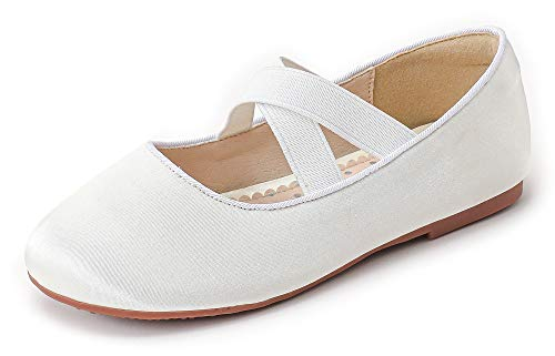 Walofou Big Girls Mary Jane Shoes Size 1 Party Prom Kids Flower Girl Low High Heel Glitter Shoes 9 Yr Bridesmaid White Sequins Princess Wedding Teen Girls Dress Shoes (04White 1)