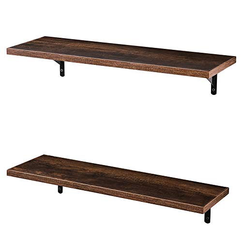 SUPERJARE Wall Mounted Floating Shelves, Set of 2, Display Ledge, Storage Rack for Room/Kitchen/Office - Brown