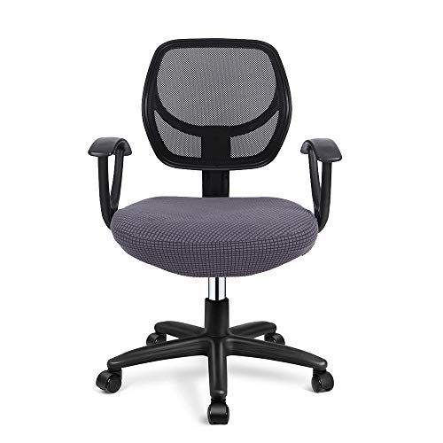 Deisy Dee Stretch Office Computer Chair Seat Covers, Removable Washable Anti-dust Desk Chair Seat Cushion Protectors C173 (Grey)