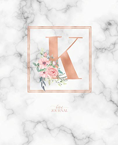 """Dotted Journal: Dotted Grid Bullet Notebook Journal Rose Gold Monogram Letter K Marble with Pink Flowers (7.5"""" x 9.25"""") for Women Teens Girls and Kids"""