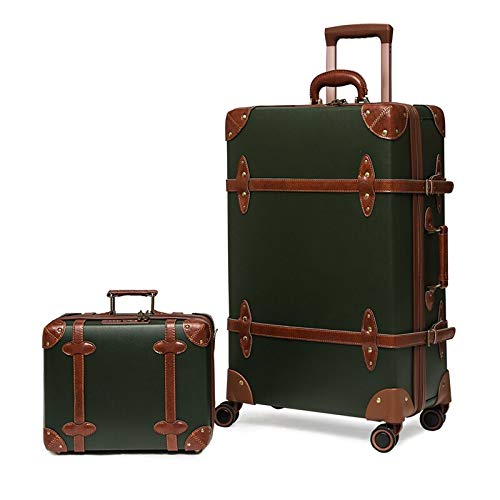 Fashion Vintage Leather Luggage Sets for Men and Women, Large Capacity Trolley Suitcase with Combination Lock, 26/28 Inch 28' ArmyGreen