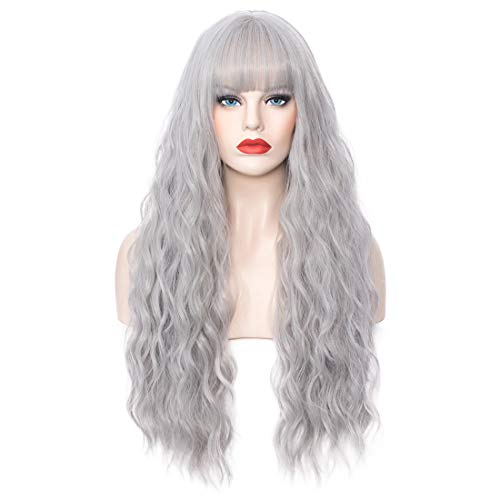 """Cying Lin 28"""" Long Wavy Curly Wig Silver WigsFor Women Natural Cosplay Halloween Wigs Heat Resistant Fun Party Wig Include Wig (Silver, 28inch)"""