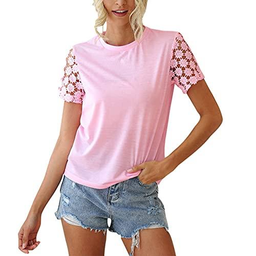 Primavera Y Verano Jersey Informal para Mujer Cuello Redondo Mangas De Color SóLido Costura Crochet Hueco Camiseta Suelta De Manga Corta Top Mujer