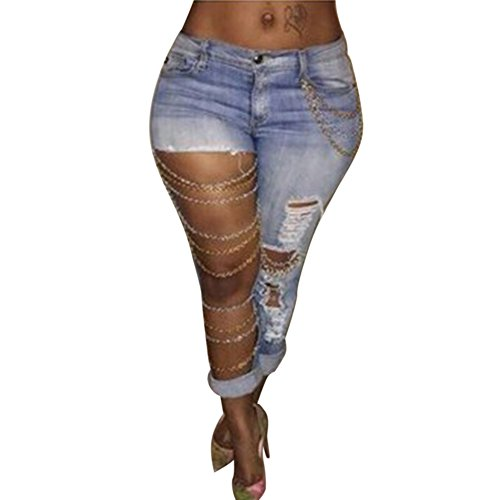 ClothingLoves Women High Waist Sexy Jeans Hollow Out Holes Denim Pants with Chain Clubwear Long Pants Medium