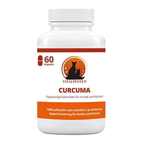 Vitalpfoten 60 Kapseln Curcuma für Hunde und Katzen Ergänzungsmittel mit Curcumin und Piperin, sanfte Dosierung, Herstellung in Deutschland, höchste Reinheit und Qualität