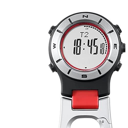 QHG Reloj de Clip al Aire Libre Altímetro Barómetro de brújula Termómetro de Bolsillo Digital (Color : A)