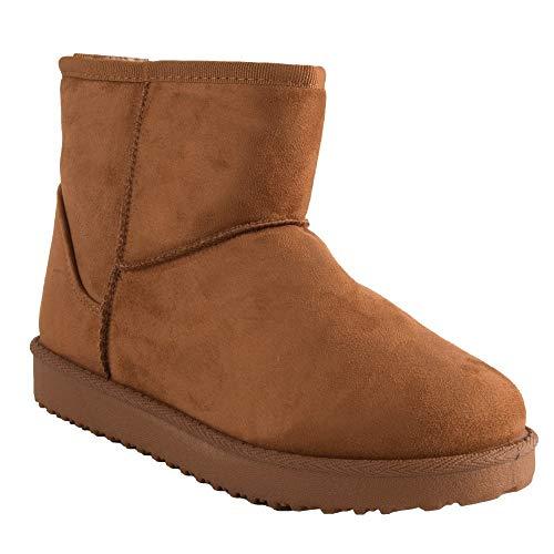 Primtex Bottes fourrées Femme Forme Boots Basse à Fourrure synthétique-39,39 EU,Marron-Camel