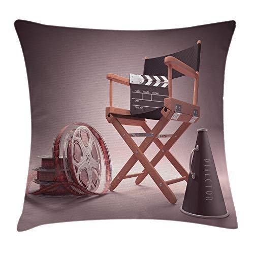 ABAKUHAUS Películas Funda para Almohada, Silla de Directores, Estampa Digital en Ambos Lados con Cremallera, 45 x 45 cm, Umber Negro y marrón