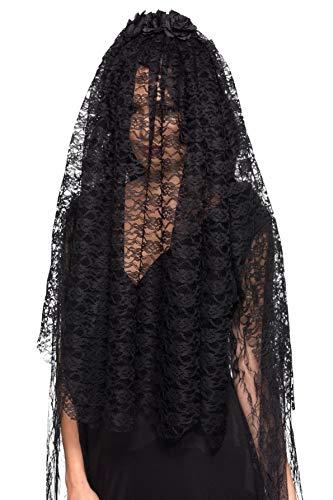 Smiffys Black Widow Veil Velo negro viuda, color, (49111)