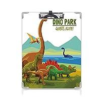 クリップボード A4 恐竜 子供の贈り物バインダー 空飛ぶ水泳 A4 タテ型 クリップファイル ワードパッド ファイルバインダー 携帯便利陸と恐竜 湖と山の恐竜パークアライブテーマ装飾