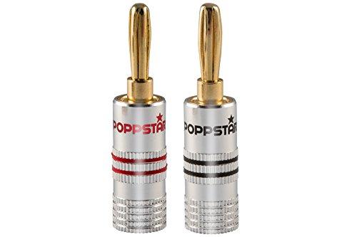 Poppstar 8x High End Bananenstecker Bananas für Lautsprecherkabel bis 6 mm²