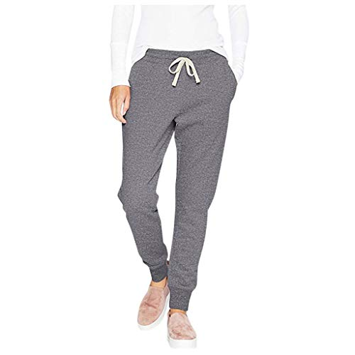 Smileyth Women's Drawstring Sweatpants Fashion Casual Relaxed Fit Solid Color Elastic Waist Frenulum Binding Feet Pants with Pockets Sport Jogger Soft Trousers