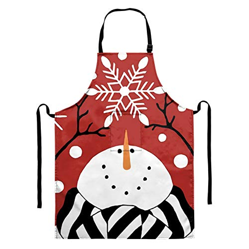 BIGCARJOB Merry Christmas Apron Snowman Snowflake Cooking Apron Winter Landscape Kitchen Apron Red Baking Apron for Women Men Merry Christmas Party Gift