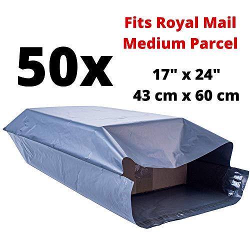 Große Versandtasche aus Kunststoff, groß, 43 x 60 cm, Grau für den Versand und Verpackung, extra starke Umschläge, Polyethylen, selbstklebende Beutel, für Kleidung