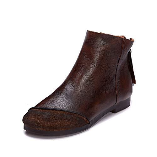 Platte laarzen met matte naden ronde vorm verdikte zool laag hak laarzen waterdichte katoenen voering leer geschikt voor elke gelegenheid