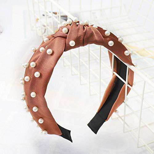 Tony plate Bandeau Fashion Satin Knot Pearl Hairband Bow Simple Solid Color Headbands for Women Bezel Hairhoop Girls Headwear Hair Accessories-8