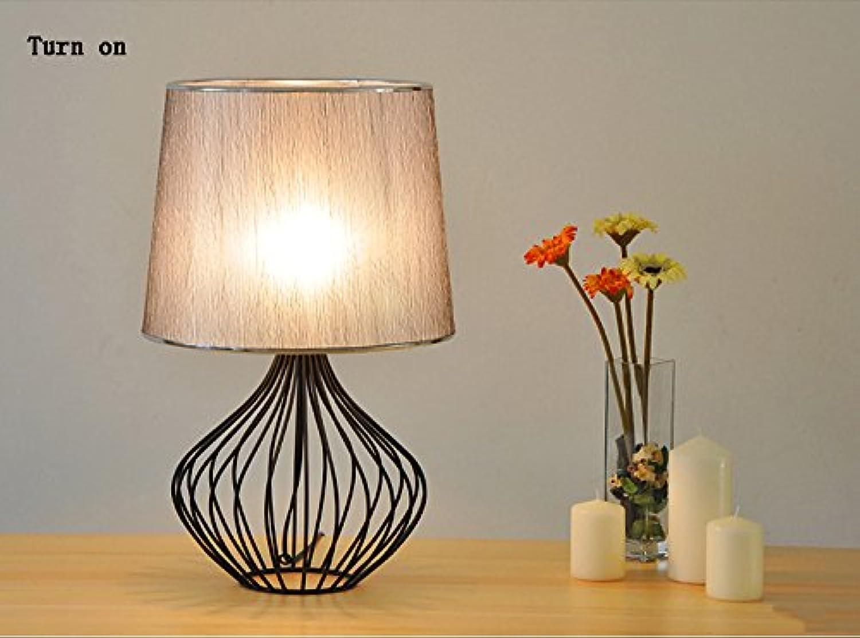 GJ- Schmiedeeisen Vogelkäfig Tischlampe E27 Cap Typ Tuch Lampshade Tischlampe Einfache moderne Wohnzimmer Schlafzimmer Nachttischlampe (Farbe    3) B078V3D3H7 | Erschwinglich