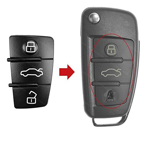 KONIKON Tastenfeld 3 Tasten Schlüssel Autoschlüssel Ersatz Gummi Neu passend für Audi A3 A4 A5 A6 A8