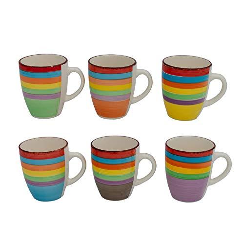 DRULINE 6er Set Kaffeetasse Keramik Becher Kaffeepott Kaffeebecher Tassen Pott Premium Porzellan Uni bunt Bürotasse Trinkbecher Becherset Modernes Design ca.400 ml Bunt (Ø x H) ca. 8,5 x 10 cm