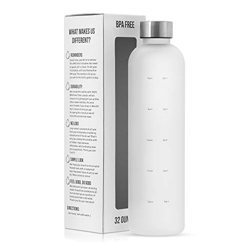 Motivational Water Bottle with Time Marker Reminder, BPA Free Frosted Tritan Plastic, Leakproof and Drop Resistant, 1 Liter 32 Oz (The Original)