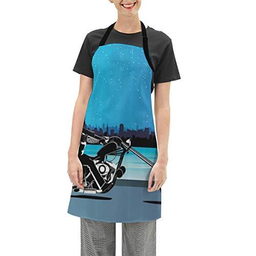 DISLONLY wasserdichte Schürze,Motorrad-Kunst mit Chopper-Motorrad-Biker, der unter sternenklarem Nachthimmel-Stadtbild-Silhouette reitet verstellbare Kochschürze für Frauen Männer Chef,