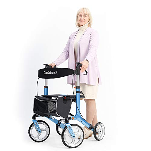 OasisSpace Aluminum Rollator Walker, with 10'' Wheels and Seat Compact Folding Design Lightweight...