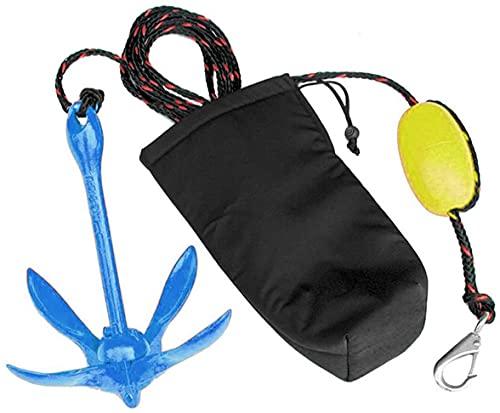 XIALUO Kits de anclaje para kayak marino de 1,6 kg, accesorios de anclaje plegables con cuerda de 30 pies para kayaks de pesca, canoa, moto acuática, tabla de remo SUP y barcos pequeños