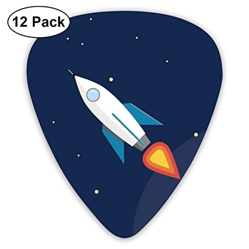 Rocket Fly Guitar Picks (12-Pack) Picks for Acoustic Electric Guitars Bass Or Ukulele Includes Thin, Medium, Heavy Gauges