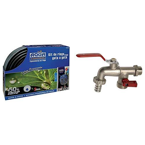 Aqua Control Riego por Goteo para Jardín-Incluye Goteros, Tubería, Microtubo, Reductor de...