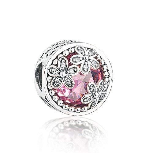 FUNSHOPP Charm-Perle mit Gänseblümchen-Wiese, 925er Silber, passend für Pandora-Armbänder