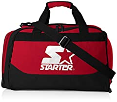 Starter hangtag doubles as a sticker! This gym bag is the perfect size for carrying your to and from the gym. It features durable hand and adjustable shoulder straps, a hanger loop on the bottom side, and one external side pocket. External side pocke...