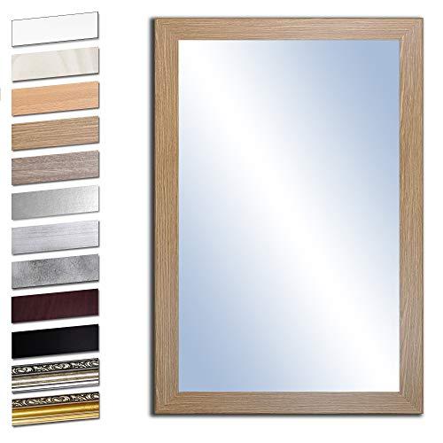 Bilderdepot24 Wandspiegel Spiegel Badspiegel Holzrahmen komplett mit Echtglas - Eiche Grand - ca. 70x50 cm