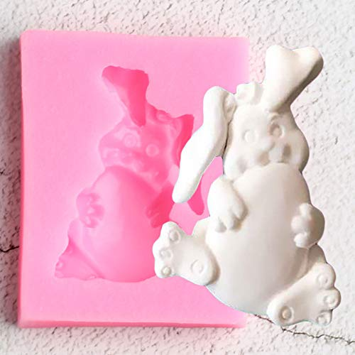 YUXIAN Cake Mold Silicone Diy, 3D Rabbit Silicone Mold Bunny Animals Fondant Molds Diy Cake Decorating Tools Resin Clay Candy Chocolate Gumpaste Moulds