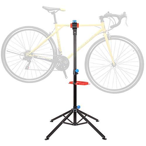femor Fahrradmontageständer mit Werkzeugablage Fahrrad Reparaturständer höhenverstellbar & klappbar,vierbeiniger Ständer für Fahrradreparatur,belastbar bis 50kg,2 Typen:ohne Teleskopsständer