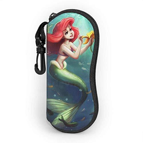 Mermaid Ariel Colg Eyegs Case, Portable Travel Zipper Sungses Case Gses Bag Guard Set