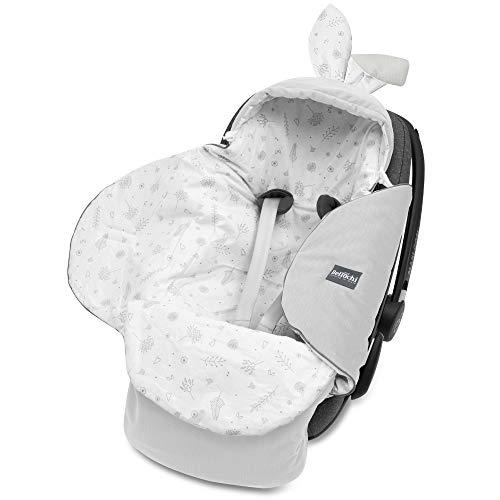 Bellochi Universal Baby Einschlagdecke für Babyschale und Autositz Kinderwagendecke Fußsäck aus Baumwolle und Samt z.B. passend für Maxi-Cosi, Römer, Cybex - Copse