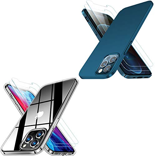 RANVOO Crystal Clear Compatible with iPhone 12 Pro Max Case with 2 Screen Protector & Ultra Thin Matte iPhone 12 Pro Max Case Blue, 6.7 inch