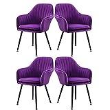WYBW Silla de comedor para el hogar, sillón de ocio, silla de comedor, sala de estar, cocina, cojín tapizado, silla lateral con patas de metal, juego de 4, color morado