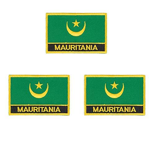 3 Stück Mauretanien bestickte Flagge Emblem Applikation Aufbügler Aufbügler