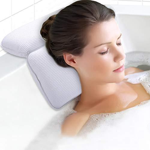 Kapmore Badewannenkissen Nackenkissen Badewanne mit Saugnäpfen Kissen Badewanne für Spa und Bad(Weiß)