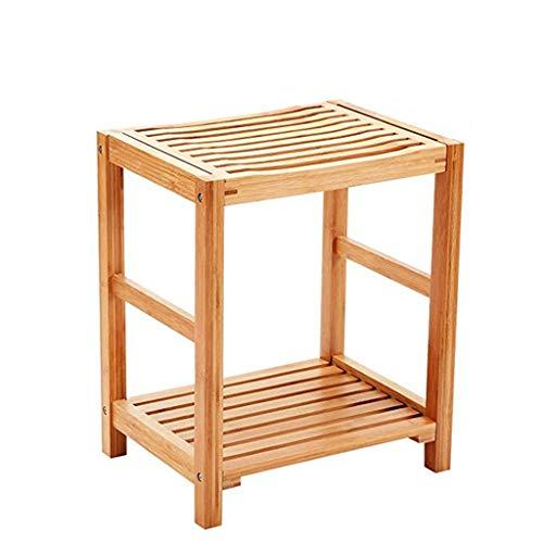 WANGFENG Sgabello Sedile Doccia in bambù con Ripiano, Panca da Bagno in Legno, Sgabello per Vasca Idromassaggio, Sedia da Spa Interna O Esterna