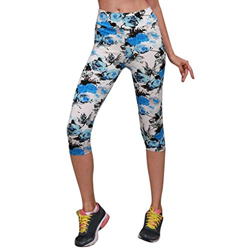 JOFOW Women's Leggings,Floral Print Flowers Skinny Mid Waist Workout Gym Fitness Cropped Trousers Jogger Yoga Pant for Women (L,Blue)