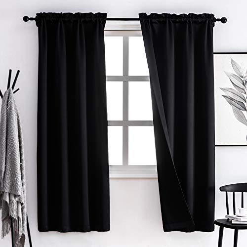Lofus 100% Blackout Curtains Thermal Insulated Window Curtain, 3 Layers Black Liner Full Room Darkening Soundproof Drapes for Living Room, 2 Panels, Black, 38x63 Inch